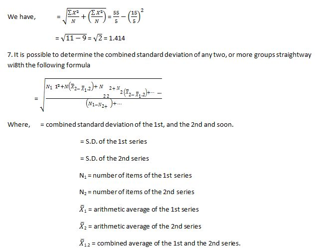 Determine the Combined Standard Deviation