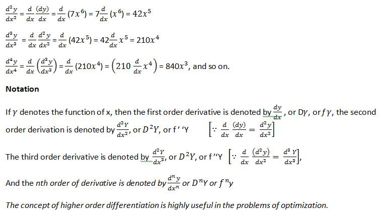 Differentiation of Higher Order